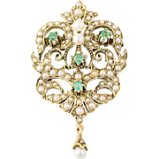 Convertible Emerald & Cultured Pearl Brooch - 14k Yellow Gold Pendant .34ctw