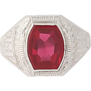 Art Deco Ostby & Barton Synthetic Ruby Ring - 10k Gold Men's Vintage 2.60ct