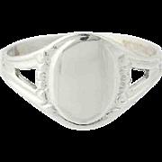 Vintage Child's Signet Ring - 10k White gold Engravable Keepsake Gift Size 3