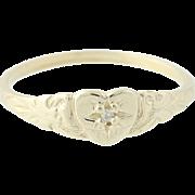 Ornate Heart Diamond Baby / Childs Ring - 10k Yellow Gold Vintage Keepsake Band