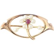 Vintage Flower Brooch - 10k Yellow Gold Baroque Seed Pearls & Synthetic Ruby Pin