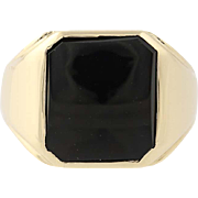 Men's Onyx Ring - 10k Yellow Gold Smoothly Finished Size 7