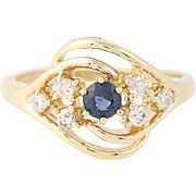 Sapphire & Diamond Ring - 14k Yellow Gold Bypass Round Brilliant .48ctw
