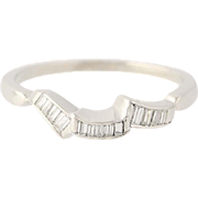 Vintage Diamond Band - 900 Platinum Stackable Ring Wedding Baguette .16ctw