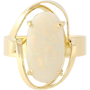 Opal Solitaire Ring - 18k Yellow Gold 6 1/4 - 6 1/2 Cabochon 3.50ct