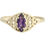 Amethyst Solitaire Ring - 10k Yellow Gold February Birthstone .39ct