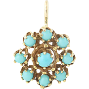 Vintage Turquoise Flower Pendant - 14k Yellow Gold Cluster Women's Gift