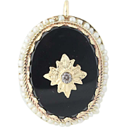 Vintage Onyx, Seed Pearl, & Glass Pendant -14k Yellow Gold Etched Leaves Women's