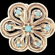 Vintage Turquoise Flower Blossom Pendant - 14k Yellow Gold Women's