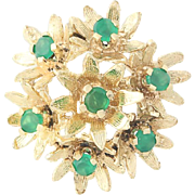 Simulated Emerald Flower Cluster Pendant - 14k Yellow Gold Bouquet Women's