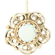 Vintage Opal Solitaire Pendant - 14k Yellow Gold Flower Round Cabochon .25ct