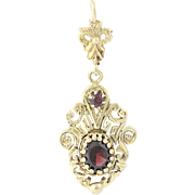 Vintage Garnet Drop Pendant - 14k Gold Oval Brilliant .93ctw
