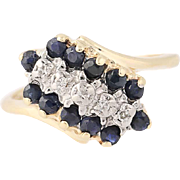 Sapphire & Diamond Bypass Ring - 10k Gold Tiered Cluster Round Brilliant .60ctw
