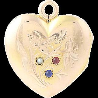 Victorian Heart Locket - 10k Gold Seed Pearl, Sim. Ruby, & Sim. Sapphire Antique