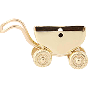 Baby Buggy Carriage Charm - 10k Yellow Gold Wheels Move 3D