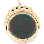 Antique Bloodstone & Carnelian Pendant - 9k Yellow Gold Reversible Spins