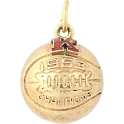 1953 Basketball Champions Charm - 10k Yellow Gold Red Enamel Pendant
