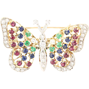 Multi-Gemstone Butterfly Brooch - 14k Gold Ruby Sapphire Emerald Moves 3.81ctw