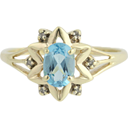 Blue Topaz & Diamond Star Ring - 10k Yellow & White Gold 1.00ctw