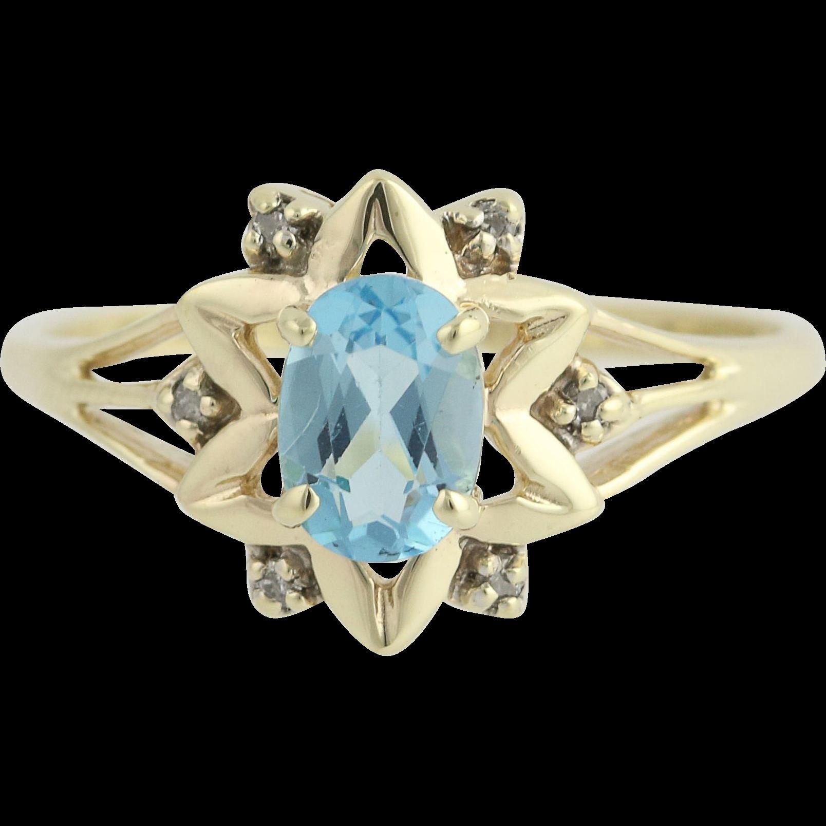 Blue Topaz & Diamond Star Ring - 10k Yellow & White Gold 1.00ctw