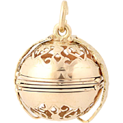 Picture Folding Ball Charm - 14k Yellow Gold Keepsake Pendant Opens