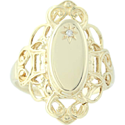 Engravable Oval Signet Ring - 10k Yellow Gold Diamond Accented Women's 8 1/4