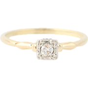 Vintage Diamond Solitaire Engagement Ring - 14k Yellow Gold Round Cut .12ct