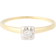 Vintage Diamond Engagement Ring - 14k Yellow Gold Round Brilliant Cut Solitaire