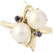 Cultured Pearl & Sapphire Bypass Ring - 14k Yellow Gold Women's Size 6