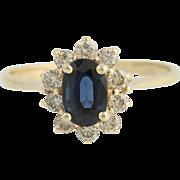 Blue Sapphire Diamond Halo Ring - 14k Yellow Gold Women's Oval Cut 1.73ctw