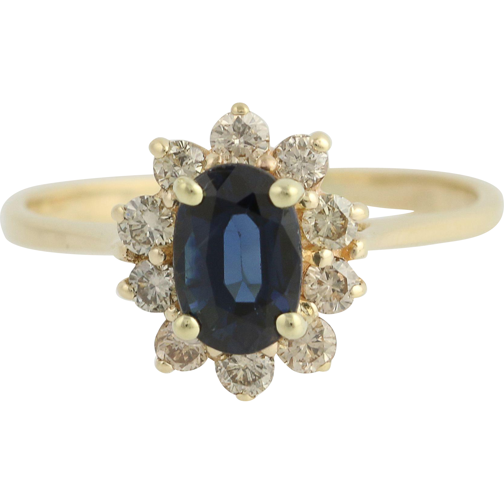 Blue Sapphire Diamond Halo Ring - 14k Yellow Gold Women's Oval Cut 1.73ctw
