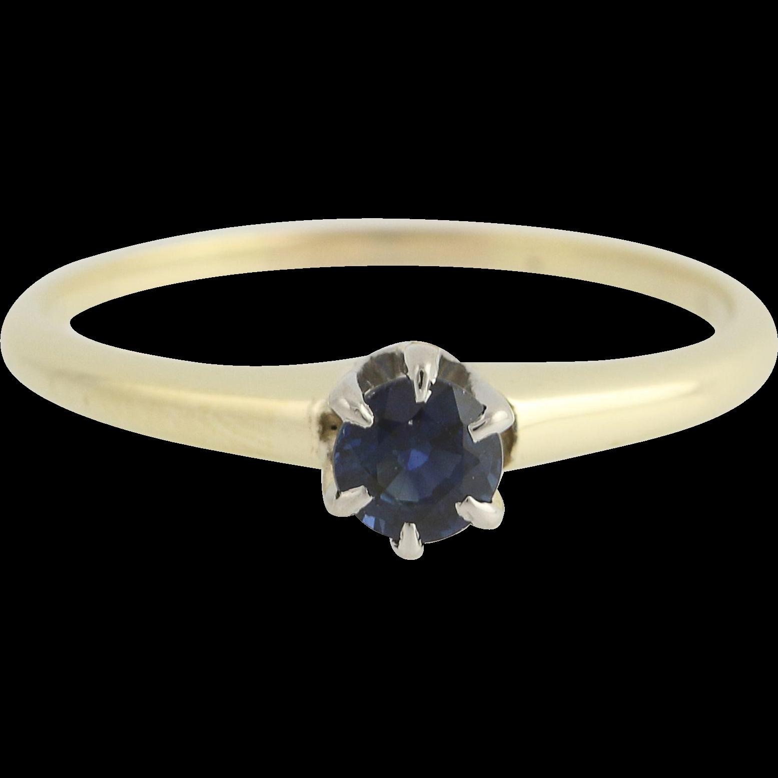 Art Deco Sapphire Ring - 14k Gold Palladium Round Solitaire 0.58ctw Engagement