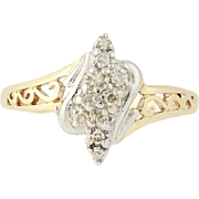 Diamond Bypass Ring - 10k Yellow Gold Tiered Cluster Single Cut .10ctw