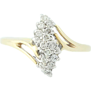 Diamond Bypass Ring - 10k Yellow Gold Tiered Cluster Round Brilliant .24ctw