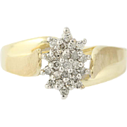 Diamond Cluster Bypass Ring - 10k Yellow Gold Tiered Single Cut .23ctw