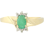 Emerald & Diamond Ring - 10k Yellow Gold Oval Solitaire 0.57ctw
