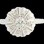 Vintage Diamond Ring - 14k White Gold European Cut .45ctw