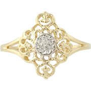 Diamond Accents Ornate Ring - 10k Yellow White Gold