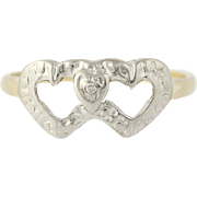 Interlocking Hearts Ring 10k White & Yellow Gold Genuine Diamond Accent Promise