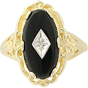 Vintage Onyx Ring - 10k Yellow Gold Diamond Accent Women's Size 7