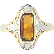 Art Deco Citrine & Diamond Ring - 14k Yellow Gold Size 6 Vintage .80ctw