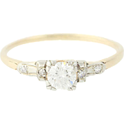 Art Deco Diamond Engagement Ring - 14k Yellow Gold Vintage Round Cut .39ctw