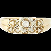 Vintage Diamond Engagement Ring & Wedding Band - 14k Yellow Gold Size 6 3/4 - 7