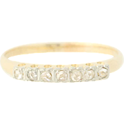 Art Deco Diamond Wedding Band - 14k Gold Women's Vintage Ring Rose Cut .20ctw