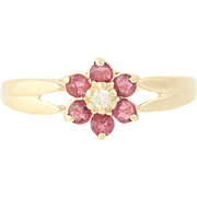 Ruby & Diamond Flower Ring - 14k Yellow Gold Floral Women's 0.27ctw