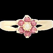 Ruby & Diamond Flower Ring - 14k Yellow Gold Floral Women's 0.27ctw