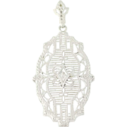 Art Deco Filigree Pendant - 10k White Gold Vintage Women's Diamond Accent .15ct