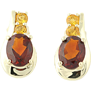 Citrine Earrings - 10k Yellow Gold Pierced Oval Brilliant 2.50ctw