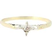 Edwardian Diamond Ring - 14k Gold Engagement Size 5 1/2 Mine Cut Solitaire