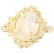 Flower Wreath Ring - 10k Yellow Gold Oval Solitaire White Mother of Pearl